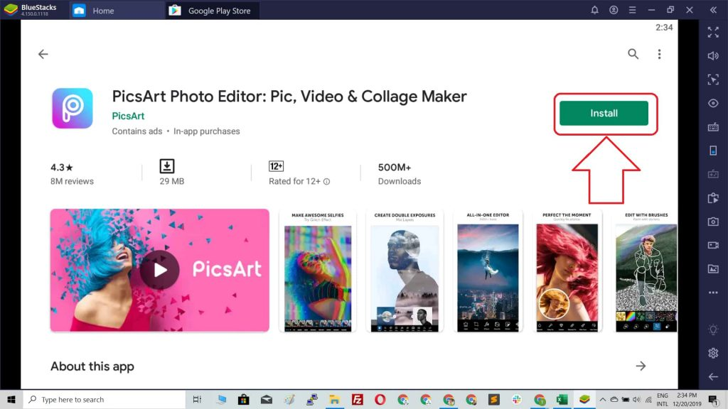 install picsart on pc